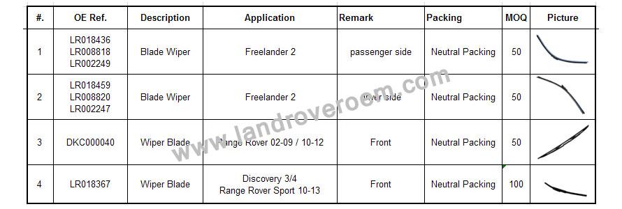 land Rover blade wiper